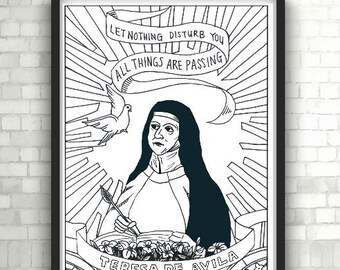 St. Teresa of Avila, Portraits, Coloring Pages for Adults, Colouring Pages, PDF, Printable
