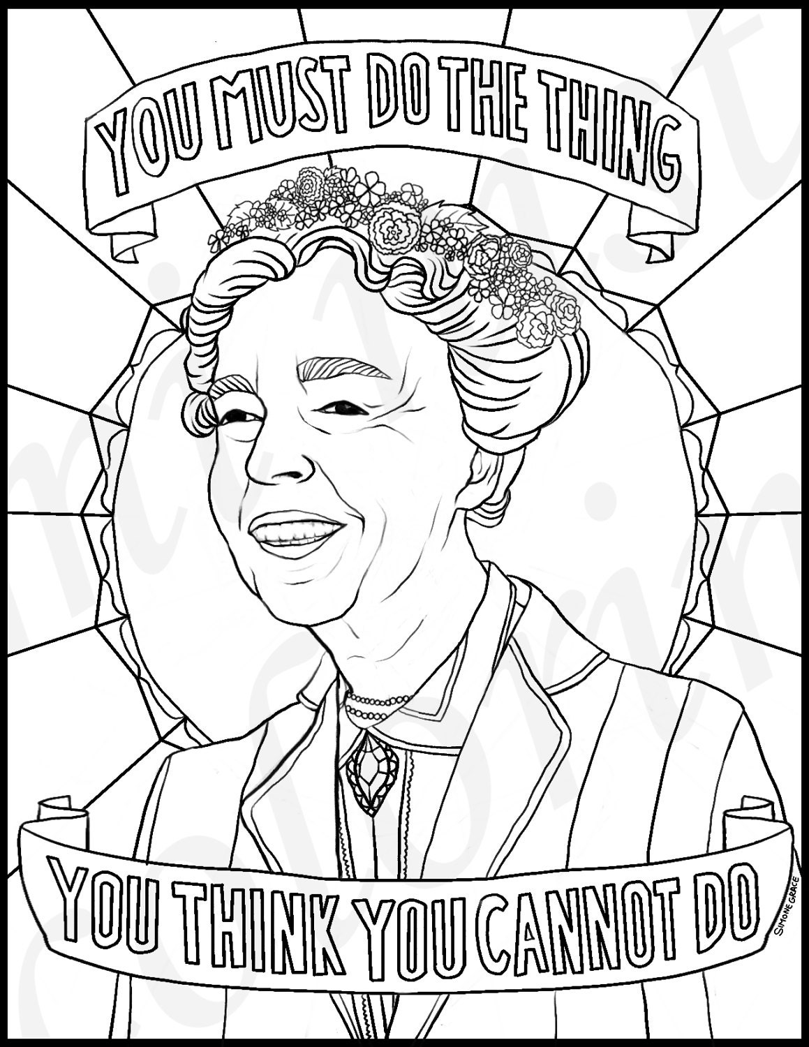 Eleanor Roosevelt Portraits Coloring Pages for Adults | Etsy