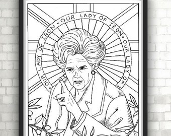 Margaret Thatcher, Iron Lady, Portraits, Coloring Pages for Adults, Colouring Pages, PDF, Printable