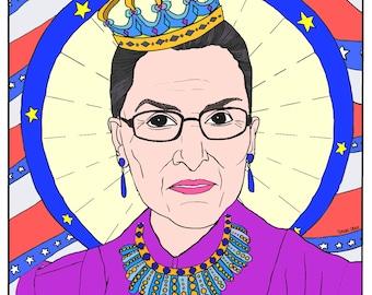Ruth Bader Ginsburg, RBG, Feminist Coloring, Portraits, Coloring Pages for Adults, Colouring Pages, PDF, Printable