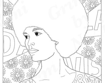 Angela Davis, Portraits, Coloring Pages for Adults, Colouring Pages, PDF, Printable