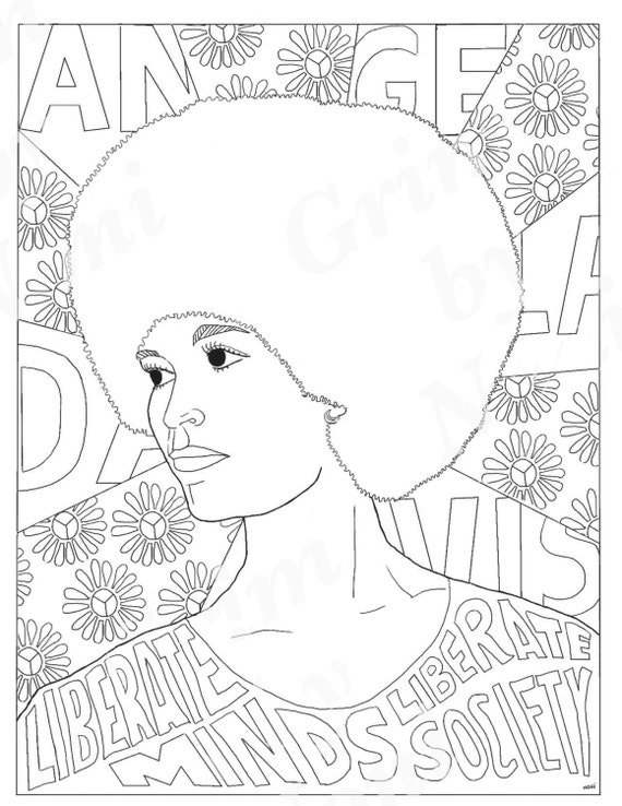 Angela Davis Portraits Coloring Pages for Adults Colouring | Etsy