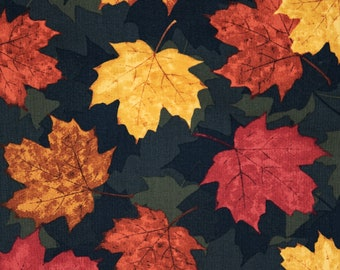 Vintage Red Burgundy Orange Yellow Gold Fall Autumn Maple Leaves Leaf Cotton Quilt Fabric