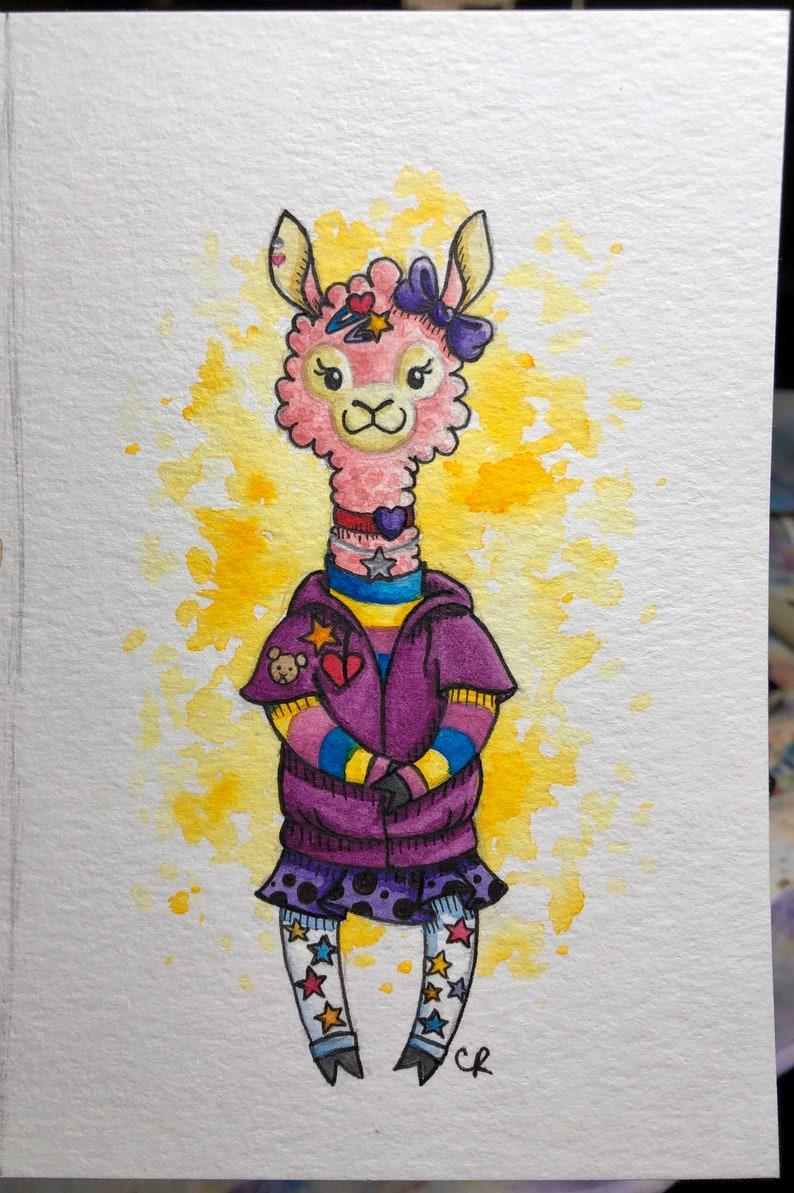 ORIGINAL Colorful Alpaca painting