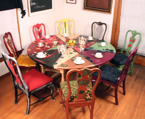 Colorful Dining Table with 8 Coordinating Chairs