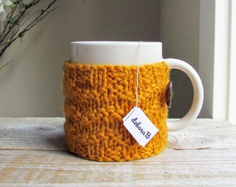 Knit Coffee Cozy, Coffee Sleeve, Cup Cozy, Coffee Mug Sleeve, Gift Under 20, Wool Cozy, Gold, Yellow, Hand Knit, Fathers Day Gift for Dad