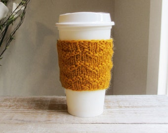 Travel Coffee Cozy, To Go Coffee Sleeve, Mustard, Gold ,Yellow, Hand Knit Cozy, 100% Wool, Gifts under 10, Gift for Men, Gift for Him