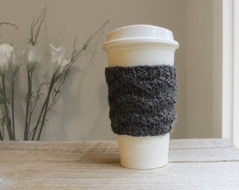 Travel Coffee Cup Cozy - Charcoal Heather Gray, Hand Knit Cozy, 100% Wool, Gifts under 15, Gift for Men