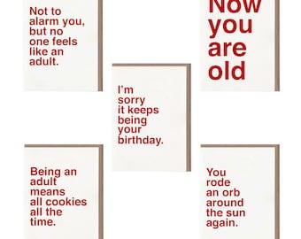 Sad Shop Cards Birthdays Set, Greeting Cards Set, Card Set Friendship, Greeting Card Pack, Birthday Card Set, Card Set with Envelopes