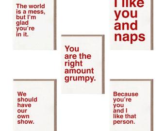 Sad Shop Cards Bestsellers Set, Greeting Cards Set, Card Set Friendship, Greeting Card Pack, Everyday Card Set, Card Set with Envelopes