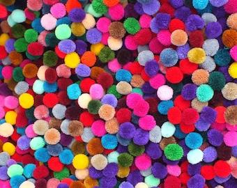 pompom Balls 100 Flowers Wedding Party Kids Arts Craft sewing Needlecraft Jewellery HatMaking Hair Craft Haberdashery Craft supplies