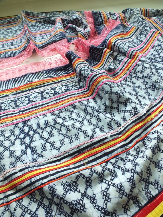 Tissu Tissu Tissu Hmong, Hmong Textiles, imprimé tissé à la main à la main coton Batik de tissus anciens, Hmong Batik - Table runner-de la Thaïlande fa261d