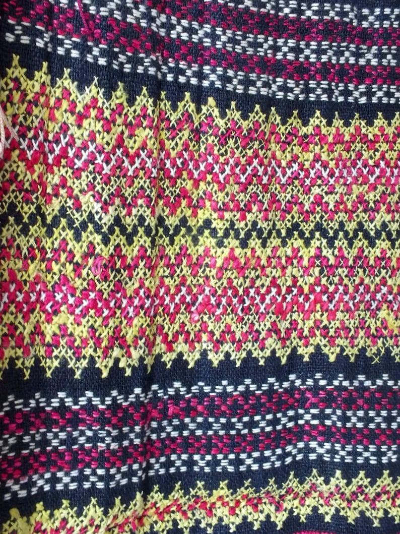 Vintage Scarves Boho chic Handmade Cross stitch Hmong Artwork Vintage Textiles Unique ethnic Fabric Hemp Handloom textiles