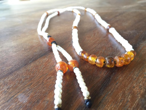 Amber Necklace Tribal Pearl Necklace ,Amber Apatite Pearl Mala Tassel  Necklace, Boho Necklace, Healing Necklace, Genuine Pearl Necklace,