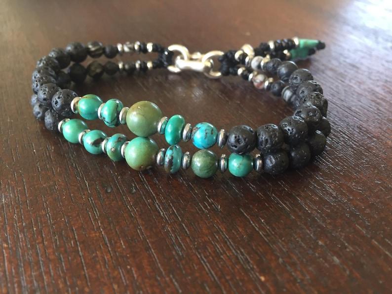 Bohemian Bracelet Turquoise Beads Bracelet Gemstone Bracelet Lava Beads Bracelet Mala Bracelet Healing Men Jewelry Men Bracelet