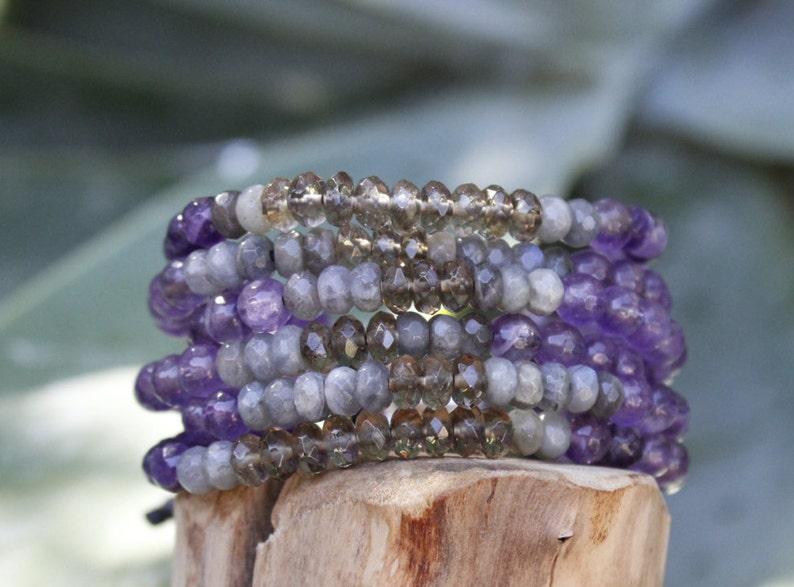 Birthstone Bracelet Amethyst  Gemstone Bracelet Boho Bracelet Bohemian Bracelet,Gemstone Multi Strand  Bracelet Healing  Bracelet