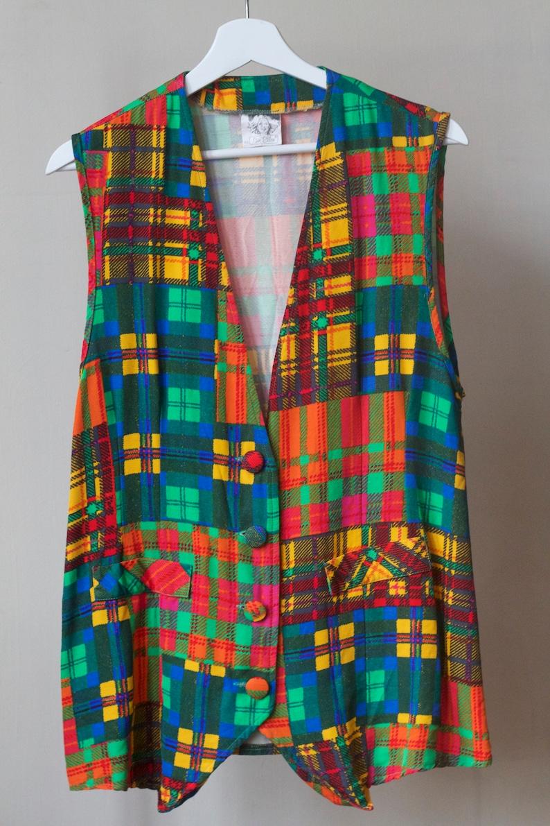 Colourful square pattern vest size 40