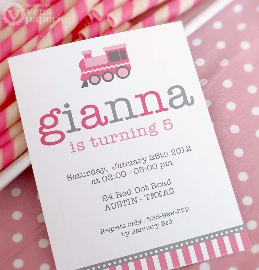 DIY PRINTABLE Invitation Card Vintage Choo-Choo Pink Train