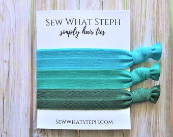 Simply Hair Tie Favors | Shades of Teal | Girls Getaway Hair Ties | Simply Hair Ties | Bachelorette Party Favors | Wedding Favors | Birthday