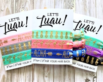 Let's Luau! Hair Tie Favors | Bachelorette Favors | Luau Hair Ties | Bachelorette Hair Tie Favors | Aloha Hair Ties | Pineapple Hair Ties