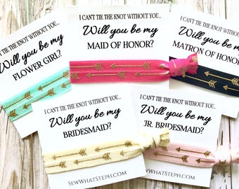 Hair Tie Favors | Will You Be My Bridesmaid Hair Ties | I Can't Tie the Knot Without You | Wedding Favors | Bridesmaid Proposal | 1ct