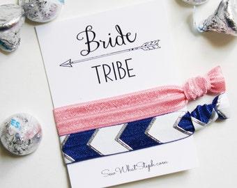 Bride Tribe Elastic Hair Ties / Wedding Favor / Bachelorette Party / Bridal Shower / Bachelorette Hair Ties / Navy / Silver / Pink Arrows
