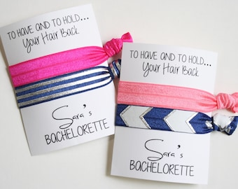 To Have and To Hold Bachelorette Hair Ties / 2-ct CUSTOM Hair Ties / Wristlet Tie / Bachelorette Party Favor / Navy & Silver Hair Bands