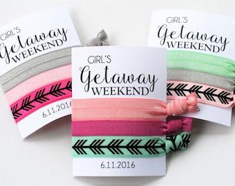 Girl's Weekend Getaway Hair Ties   3-ct CUSTOM Hair Ties   Wristlet Tie   Bachelorette Party Favor   Beach Weekend Fun Hair Tie Favors