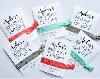 Birthday Party Hair Tie Favors | Birthday BASH Hair Ties | PERSONALIZED | Birthday Favors | Girls Getaway Hair Ties | 1ct