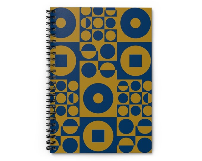 Spiral Notebook - Vintage Iconic 70s Design - Blue