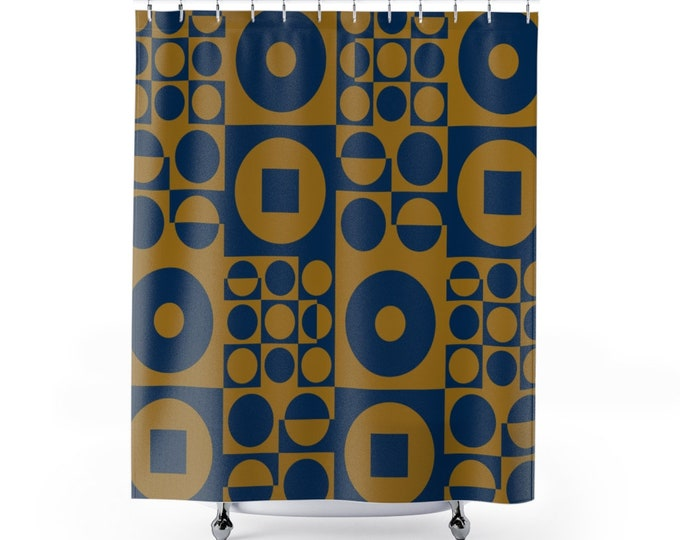Fabric Shower Curtain, inspired by Vintage Scandinavian Design - Blue