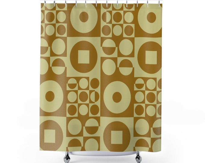 Fabric Shower Curtain, inspired by Vintage Scandinavian Design - Olive Green
