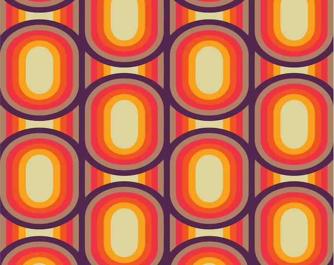 Fabric by the metre | Vintage Iconic 60s - 70s Danish Design - Dark Wine / Off White