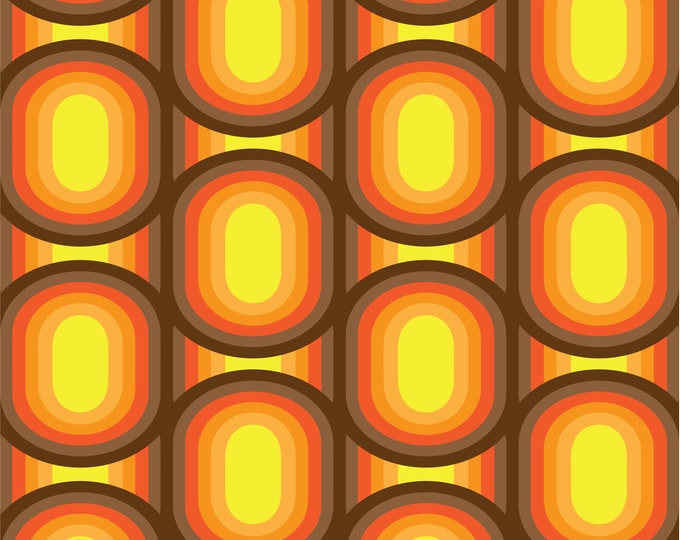 Fabric by the metre | Vintage Iconic 60s - 70s Danish Design - Brown / Warm Yellow