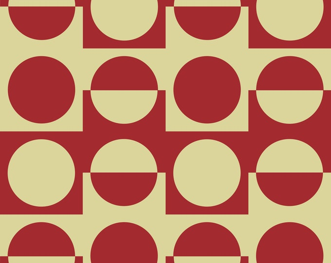 Fabric by the metre | Vintage Iconic 60s - 70s Danish Design - Rojo/Off White