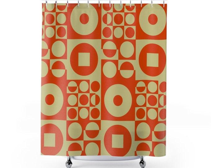 Fabric Shower Curtain, inspired by Vintage Scandinavian Design - Orange
