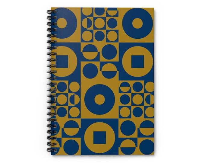 Spiral Notebook - Vintage Iconic 70s Design - Blue