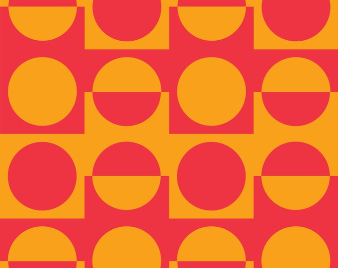 Fabric by the metre | Vintage Iconic 60s - 70s Danish Design - Orange/Red