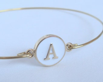 Gold and white initial bangle - Bridal personalized initial bracelet - Bridesmaid gift - Personalized jewelry - Custom initial bangle