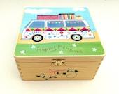 Camper van memory box, Large wooden keepsake box with funky camper van printed design, Wooden camper van trinket Box, Free personalisation.