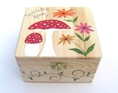 Large memory box, Children 39 s personalised keepsake box, Hand-painted wooden trinket box with funky toadstools and flower design
