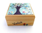 Trinket box, Children 39 s wooden trinket box, Small jewellery box with whimsical tree and birdcage printed design. Free personalisation.