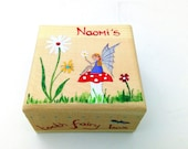 Children 39 s personalised tooth fairy box, Hand-painted personalised trinket box, Wooden Tooth Fairy Box with 39 Fairy Toadstool 39 design.