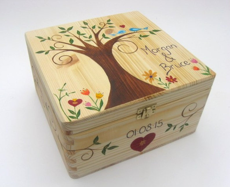 X Large Wedding Keepsake Box Wedding Memory Box Personalised Hand Painted Wedding Or Anniversary Box Funky Forest Tree Design