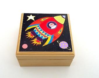 Children's 'Rocket' trinket box, Personalised trinket box, Small jewellery box, Keepsake box, Trinket box with space rocket printed design.