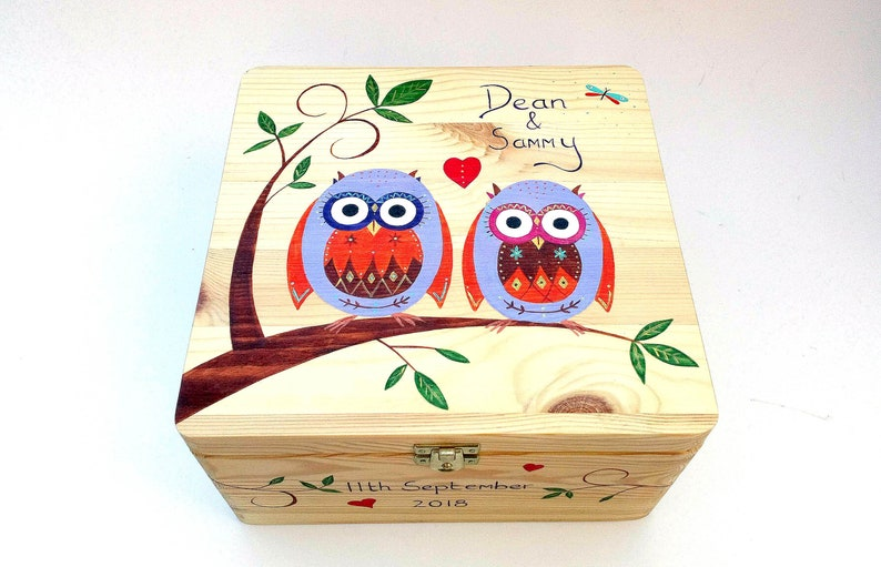 Xl Wedding Memory Box Wedding Keepsake Box Wedding Or Anniversary Gift Hand Painted Memory Box Free Personalisation Funky Owls Design
