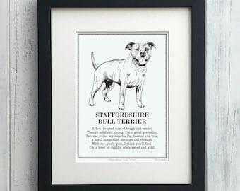 Staffordshire Bull Terrier Print Illustrated Poem