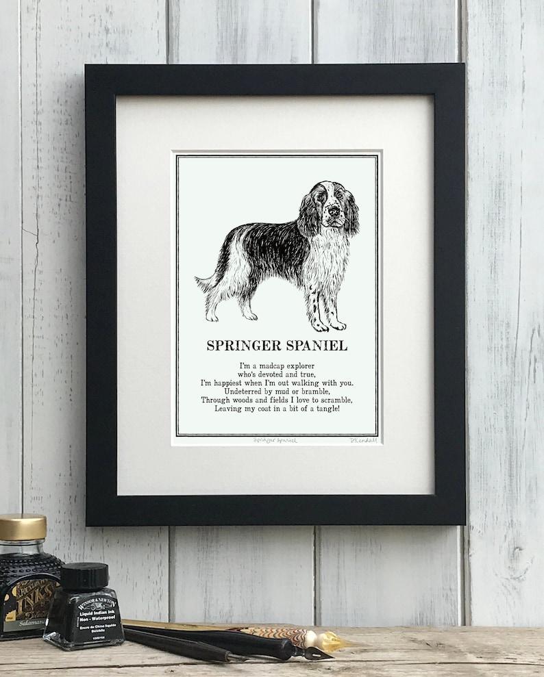 Springer Spaniel Print Illustrated Poem