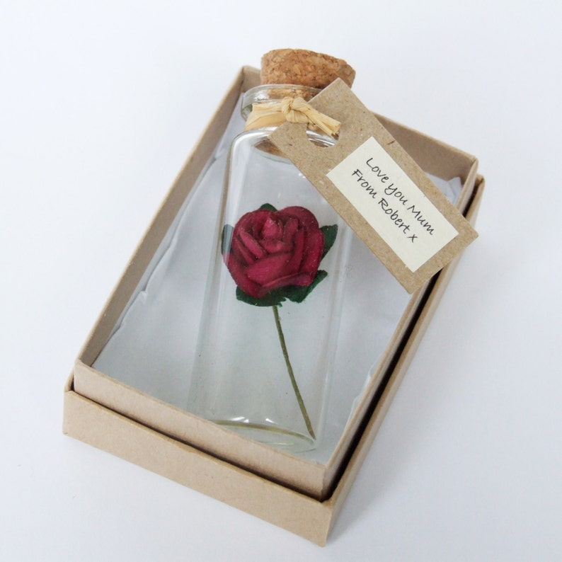 alternative mother/'s day card Tiny Personalised Tea Rose In Wine Red valentine/'s day gift alternative anniversary or wedding card -