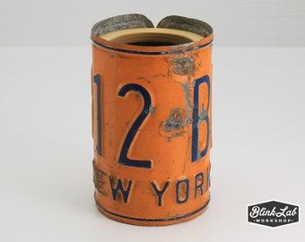 Multi-Purpose License Plate Cup - New York - Pencil Holder - Utensil Holder - Rustic Vase - Desk Organizer - Repurposed - Upcycle - Decor